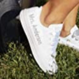 White Monogrammed Wedding Sneakers For Bride, Personalized Bridal Trainers, Awesome Bride Tennis Sho   Amazon (US)