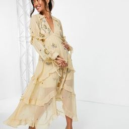 ASOS DESIGN a-line midi dress with cluster embellishment in gold   ASOS (Global)