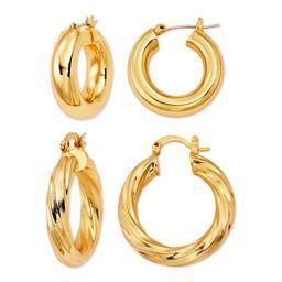 Scoop Womens Brass Yellow Gold-Plated Hoop Earrings Set   Walmart (US)