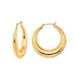 Scoop Womens Women's Brass Yellow Gold-Plated Hoop Earrings | Walmart (US)