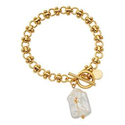 Scoop Womens Brass Yellow Gold-Plated Imitation Pearl Link Toggle Bracelet, 7.5''   Walmart (US)