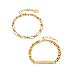 Scoop Womens Brass Yellow Gold-Plated Link and Curb Chain ID Bracelets, 2-Piece Set   Walmart (US)