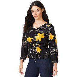 Sofia Jeans by Sofia Vergara Women's Print Top with 3/4 Puff Sleeves   Walmart (US)