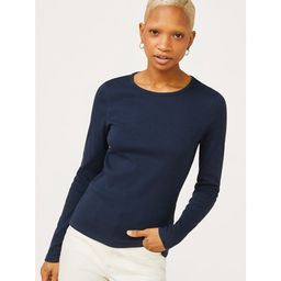 Free Assembly Women's Ribbed Crewneck T-Shirt with Long Sleeves   Walmart (US)