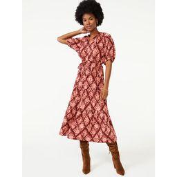 Scoop Women's Split Neck Tiered Midi Dress | Walmart (US)