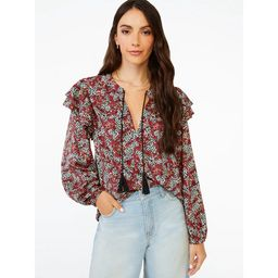 Scoop Women's Ruffle Print Peasant Top | Walmart (US)
