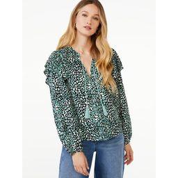 Scoop Women's Ruffle Print Peasant Top   Walmart (US)