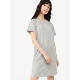 Free Assembly Women's Short Sleeve T-Shirt Dress with Cuffed Sleeves | Walmart (US)