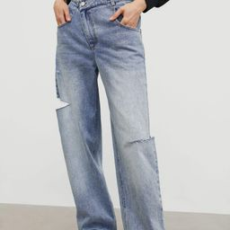 Ripped Slouchy Wide-Leg Mom Jeans   J.ING