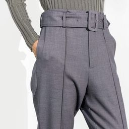 Business Charcoal Belted Trousers   J.ING