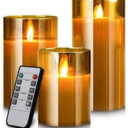 Led Flameless Candles, Battery Operated Flickering Candles Pillar Real Wax Moving Flame Electric ... | Amazon (US)