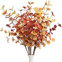VGIA 6 Pcs Artificial Eucalyptus Stems Fall Decorations with Fall Eucalyptus Leaves Autumn Decora... | Amazon (US)