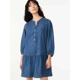 Free Assembly Women's Puff Sleeve Tiered Dress | Walmart (US)