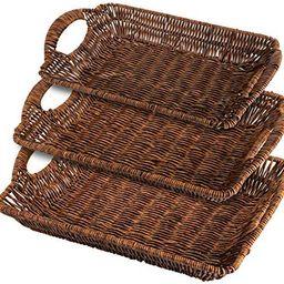 TOPZEA 3 Pack Wicker Bread Basket, Rectangular Woven Basket with Handles Tabletop Food Fruit Vege... | Amazon (US)