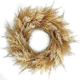 Amazon.com: HERON Home Décor Boho Artificial Autumn Dried Wreath 24 INCH Harvest Wheat Ears Fall... | Amazon (US)
