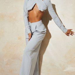 Pantalon ample gris clair tissé plissé | Pretty Little Thing (FR)