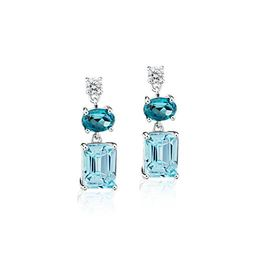 Blue Topaz and White Sapphire Mixed Shape Drop Earrings in Sterling Silver | Blue Nile | Blue Nile