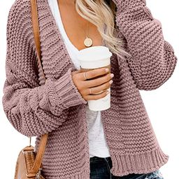 Dokotoo Womens Open Front Long Sleeve Chunky Knit Cardigan Sweaters Loose Outwear Coat | Amazon (US)