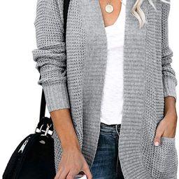ZESICA Women's Long Sleeve Open Front Casual Lightweight Soft Knit Cardigan Sweater Outerwear wit... | Amazon (US)