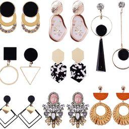 ABOJOY 8-15 Pairs Gold Statement Drop Dangle Earrings Metal Fashion Big Geometric Earrings Large ... | Amazon (US)
