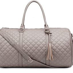 """Women's Quilted Leather Weekender Travel Duffel Bag With Rose Gold Hardware - Large 22"""" Size - Cu... 