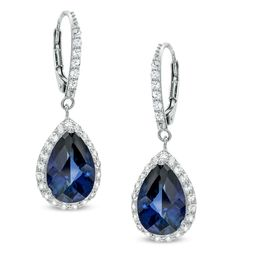 Pear-Shaped Lab-Created Blue and White Sapphire Frame Drop Earrings in Sterling Silver|Zales | Zales