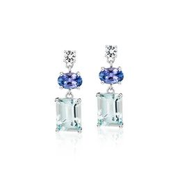 Aquamarine, Tanzanite, and White Sapphire Mixed Shape Drop Earrings in Sterling Silver | Blue Nil... | Blue Nile