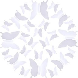 H010 48 PCS 3D Butterfly Wall Stickers DIY Removable 3 Sizes Butterfly Mural Decals Wall Art Deco...   Amazon (US)