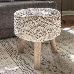 Sabb Crocheted Accent Stool   Wayfair North America