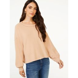 Scoop Women's Waffle Knit Slouch Top with Long Sleeves | Walmart (US)