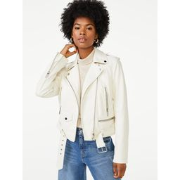 Scoop Women's Faux Leather Moto Jacket with Belt | Walmart (US)