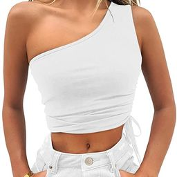 Vivitulip Women's Sexy Sleeveless Crop Tops Casual One Shoulder Drawstring Strappy Tees   Amazon (US)