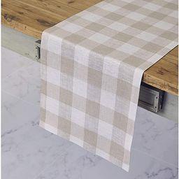 Solino Home 100% Pure Linen Buffalo Check Table Runner – 14 x 108 Inch Natural & White Checks T... | Amazon (US)