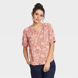 Women's Short Sleeve Tie-Front Button-Down Blouse - Universal Thread™ Brown Floral XS   Target