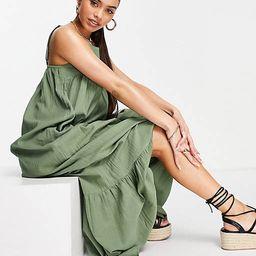 ASOS DESIGN tiered maxi dress in Khaki   ASOS (Global)
