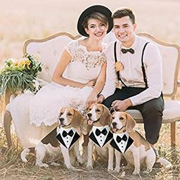 Formal Dog Tuxedo Wedding Dog Bandana Collar Dog Collar with Bow Tie Adjustable Dog Bowtie Collar... | Amazon (US)