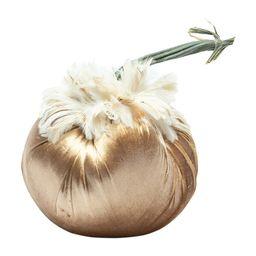 Feathered Velvet Pumpkin, Brass   Maisonette