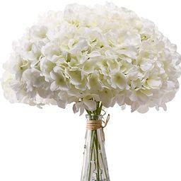 AVIVIHO White Hydrangea Silk Flowers Heads Pack of 10 Ivory White Full Hydrangea Flowers Artifici... | Amazon (US)