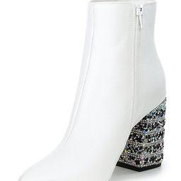 Kassie Rhinestone Embellished Block Heel Pointed Toe Booties   Dillards