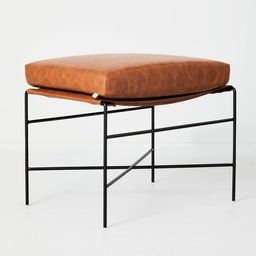 Faux Leather & Metal Ottoman - Hearth & Hand™ with Magnolia | Target