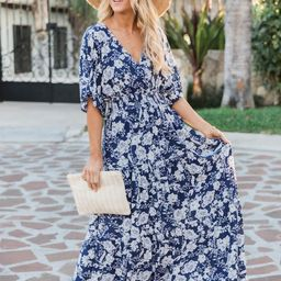 Sunshiny Days Smocked Waist Floral Navy Maxi Dress | The Pink Lily Boutique