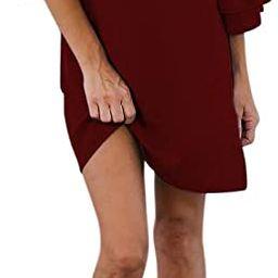 BELONGSCI Women's Dress Sweet & Cute V-Neck Bell Sleeve Shift Dress Mini Dress   Amazon (US)