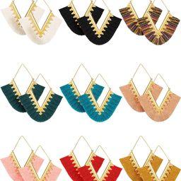 9 Pairs Tassel Statement Earrings Bohemian Fringe Silky Dangle Earrings V Shaped Handmade Geometr...   Amazon (US)