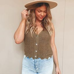 Sophie Olive Knit Tank Top | She Is Boutique