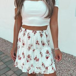 Good Girls Ivory Floral Skirt | She Is Boutique