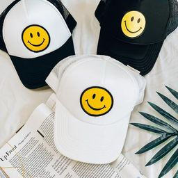 Smiley Trucker Hat | She Is Boutique