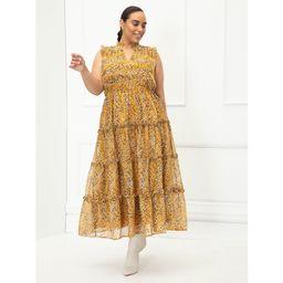 ELOQUII Elements - ELOQUII Elements Women's Plus Size Sleeveless Mixed Dot Print Ruffle Trim Dres... | Walmart (US)