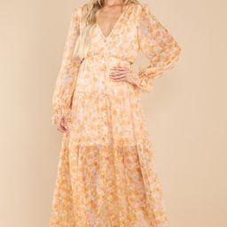 Ready To Flourish Peach Floral Print Maxi Dress   Red Dress