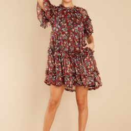 Floral Touch Black Multi Print Dress   Red Dress