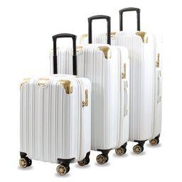 AGT Melrose S 3-Piece Anti-theft TSA Spinner Luggage Set - White/Gold | Overstock